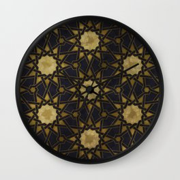 Islamic decorative pattern with golden artistic texture Wall Clock