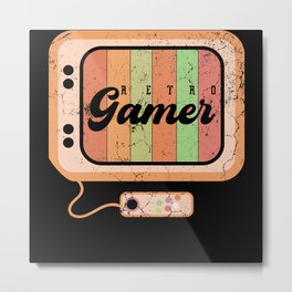 Retro Gamer Playing Classic Video Arcade Metal Print