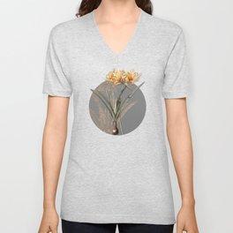 Vintage Golden Hurricane Lily Botanical Illustration on Circle Unisex V-Neck