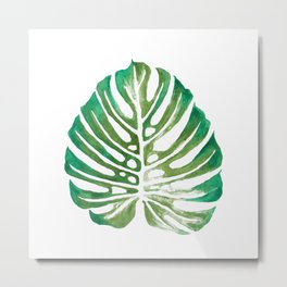 Monstera Leaf Watercolor Painting Metal Print