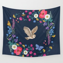 Owl and Wildflowers Wall Tapestry