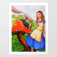 alice talks to the caterpillar Art Print