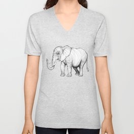 Lines of an Elephant Unisex V-Neck