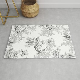 PEACOCK LILY TREE AND LEAF TOILE GRAY AND WHITE PATTERN Rug