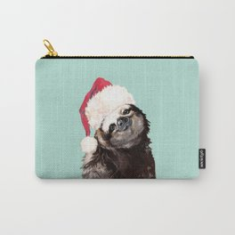 Christmas Sloth in Green Carry-All Pouch