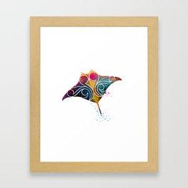 Manta Ray Color Burst Framed Art Print