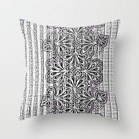newspaper Throw Pillows featuring Newspaper Stripe by Vikki Salmela