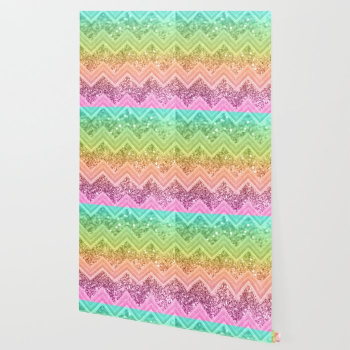 3c9e1b4ca53d Rainbow Glitter Chevron #1 #shiny #decor #art #society6 Wallpaper by ...