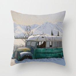 Into the Wild Fairbanks Bus Throw Pillow