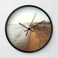 santa monica Wall Clocks featuring Santa Monica by Kelli Anne