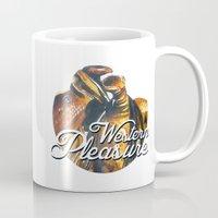 western Mugs featuring Western Pleasure by Fallen Apple Designs