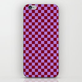 Lavender Violet and Burgundy Red Checkerboard iPhone Skin