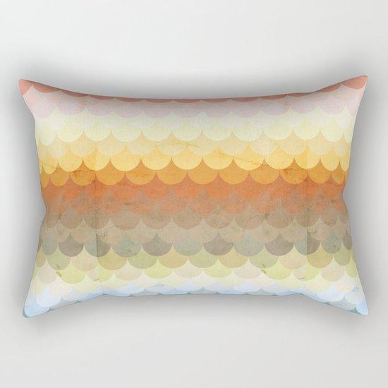 Half Circles Waves Color Rectangular Pillow