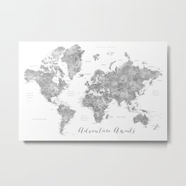 Adventure awaits... detailed world map in grayscale watercolor Metal Print