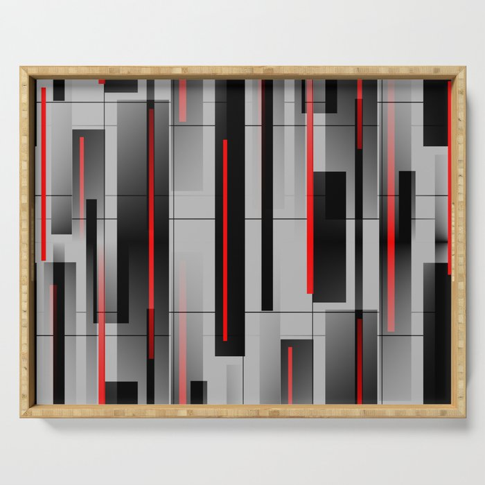 Off the Grid - Abstract - Gray, Black, Red Serving Tray