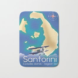 Santorini Cyclades islands Travel Map Bath Mat