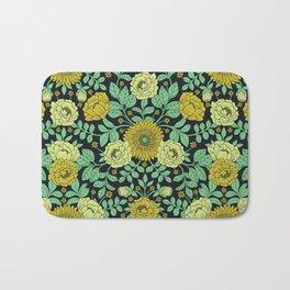 Seafoam Green, Chartreuse, Mustard Yellow & Navy Blue Floral Pattern Bath Mat