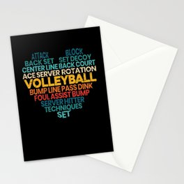 Volleyball Word Cloud Sport Gameday Spike Net Stationery Cards
