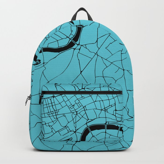 London Turquoise on Black Street Map Backpack