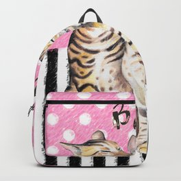 Bengal Cats Love Polka Dot Pink Stripes Backpack