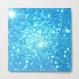 Sky Blue Sparkle Stars Metal Print