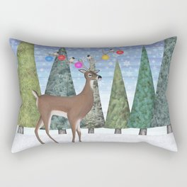 Christmas deer and chickadees Rectangular Pillow