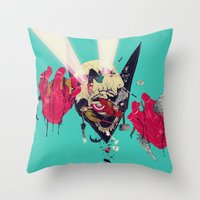 hero Throw Pillows featuring Hero Eater by boneface
