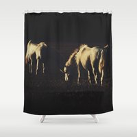 horses Shower Curtains featuring Horses by Ni.Ca.