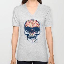 Dead Skull Zombie with Brain Unisex V-Neck