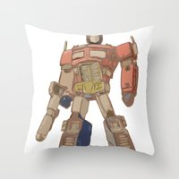 optimus prime Throw Pillows featuring Optimus Prime by colleencunha