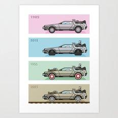 Back to the Future - Delorean x 4 Art Print