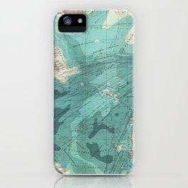 Vintage Green Transatlantic Mapping iPhone Case