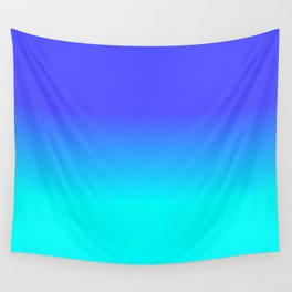 Neon Blue and Bright Neon Aqua Ombré Shade Color Fade Wall Tapestry