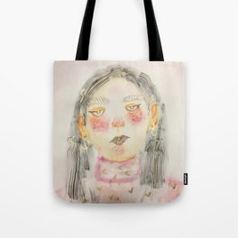 Pink Turtle Neck Girl Tote Bag