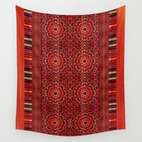 spice Wall Tapestries featuring Spice Denim Mandalas by Nina May Designs