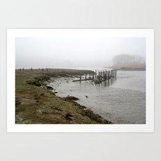 Fog harbor Art Print