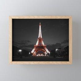 Paris Eiffel Tower Pink Night Framed Mini Art Print
