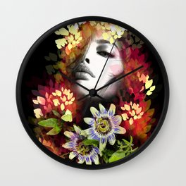 Passion Flowers Wall Clock