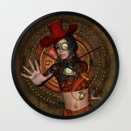 Steampunk women with hat Wall Clock