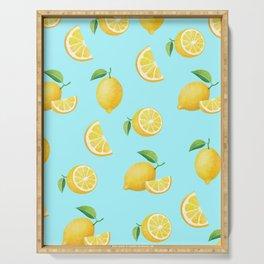 Lemons on Blue Serving Tray