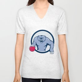 Grizzly Bear Angry Dribbling Basketball Cartoon Unisex V-Neck