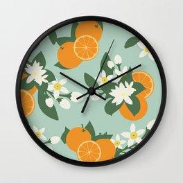 Orange Blossom Floral Pattern- Sea Foam Wall Clock