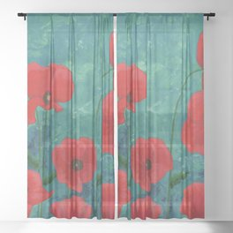 Red Poppies Sheer Curtain