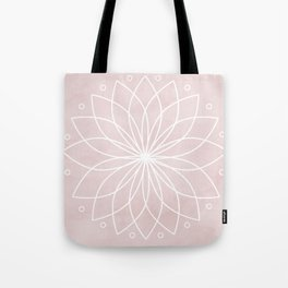 Mandala on Pink Watercolor Background Tote Bag