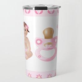 Baby Pink, Baby Girl, Pink Bottle, Bottle, Pink Pacifier, Pacifier, Pink Pram, Pram Travel Mug