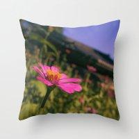 seoul Throw Pillows featuring Seoul Flower by Clayton Jones