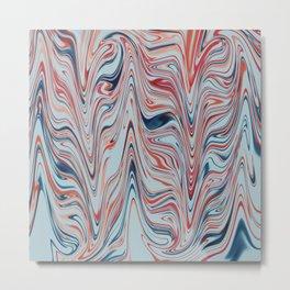 Digital marbling in azure and red tones Metal Print