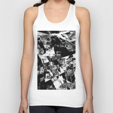 Fractured Black And White - Abstract, textured, black and white artwork Unisex Tank Top