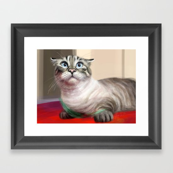 Cat Surprised Funny Animals with Feather Siamese Lynx-Point Framed Art Print