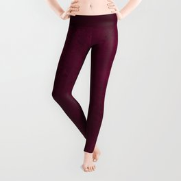 Hand painted modern abstract burgundy marble watercolor Leggings